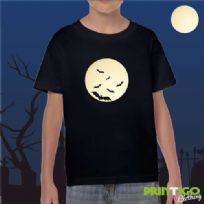 Moon Silhouette with Bats, Childrens T-shirt